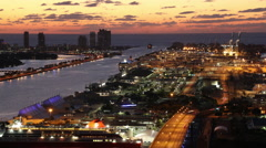 Early Morning Port of Miami & Miami Beach - stock footage