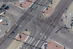 high angle view of a street intersection - stock photo