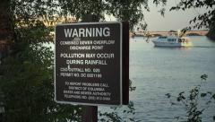 Sewer Overflow Discharge Point sign, Washington, DC 4k Stock Footage