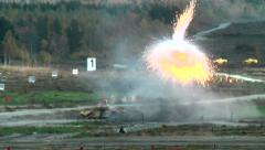 Tank T-90 shoots and leaves Stock Footage