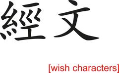 Chinese Sign for wish characters - stock illustration