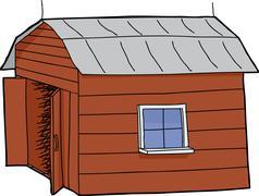 Barn with open door Stock Illustration