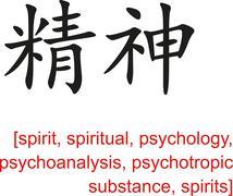 Stock Illustration of Chinese Sign for spirit, spiritual, psychology, psychoanalysis