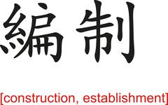 Chinese Sign for construction, establishment - stock illustration