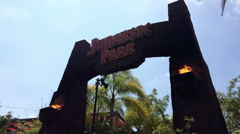 Jurassic park ride entrance at Universal Studios - stock footage
