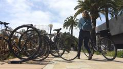 Bicycle rack at San Francisco downtown park Stock Footage