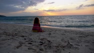Stock Video Footage of Sad Woman at the Beach against Sunset. Loneliness and Solitude Concept. Slow
