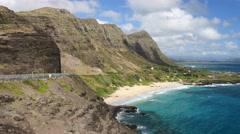 Makapuu beach ..park, oahu, hawaii.. Stock Footage