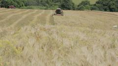 wheat harvest with modern combine harvester, Harvesting equipment, agriculture - stock footage