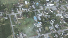 Firefighters Saving Burning Family Home - Aerial 3 Stock Footage