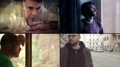 Composite of 4 sad men: depression, sadness, upset, dismal Stock Footage