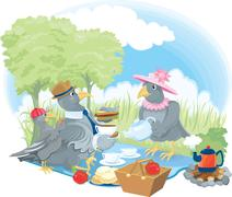 Cartoon illustration of a family of pigeons having a picnic in retro style cl Stock Illustration