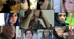 Depressed, sad,  melancoly, dismal and glum people. 4k footage Stock Footage