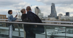 Taking a photo from London Millennium footbridge 4K Stock Footage