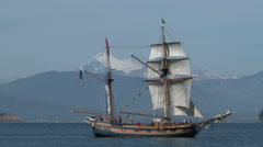 Sailboat, pirate ship, Lady Washington, sail, Hawiian Chieftan, 4K Stock Footage