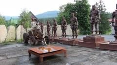 Wooden sculptures in the Szklarska poreba town. Stock Footage