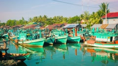 Sihanoukville, cambodia - circa dec 2013: fishing boats stand in the river mo Stock Footage