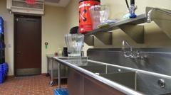 Empty Professional Kitchen Turnaround Stock Footage