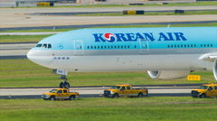 Korean Air Boeing 777 at Atlanta Airport Stock Footage