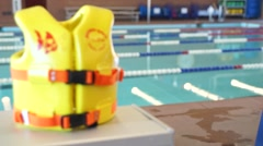 Life Vest, Swimming Pool Stock Footage