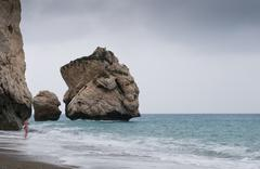 rocks of aphrodite beach - stock photo