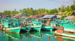Sihanoukville, cambodia - circa dec 2013: fishing boats on the quay near the Stock Footage