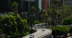 4K Freeway Traffic 33 LA Downtown Stock Footage