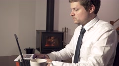 4k Business Man Working At Home Stock Footage