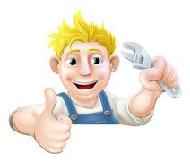 Wrench man over banner thumbs up Stock Illustration