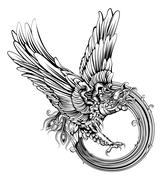 phoenix bird or eagle - stock illustration
