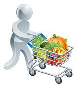 Person pushing trolley with vegetables Stock Illustration