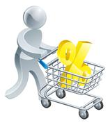 person pushing trolley with percentage sign - stock illustration