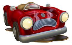 Broken down cartoon car Stock Illustration