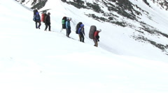 Climbers walk Stock Footage