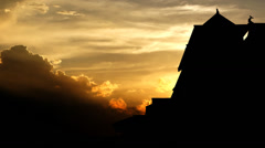 Ancient castle sunset animation. - stock footage