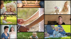 Maturing people background, baby, family, teenagers, lovers, teens Stock Footage