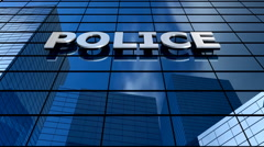 Police building blue sky timelapse. Stock Footage