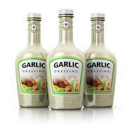 Set of bottles with garlic dressing Stock Illustration