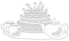 Cake, teapot and cups, contours Stock Illustration