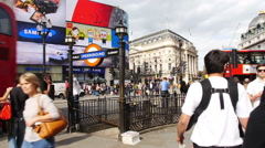 People near Picadilly Circus, London Stock Footage