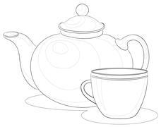 Teapot and cup, contours Stock Illustration