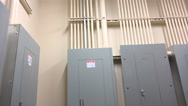 Stock Video Footage of 4K Medical Building Electrical Power Room Boxes