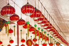 Chinese new year lanterns hanging from ceiling, george town, penang, malaysia Stock Photos
