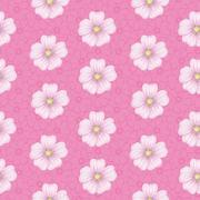 Seamless floral pattern, mallow and cosmos - stock illustration
