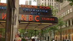 4K NBC Studios Rockefeller Center Establishing Shot Stock Footage