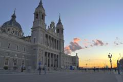 Almudena cathedral at twilight, Madrid, Spain. HDR - stock photo
