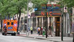 4K Ambulance Outside Rockefeller Center Stock Footage