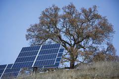 Solar panels on rural hillside Stock Photos
