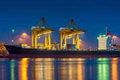 shipping port - stock photo