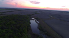 Sunrise fly over river and wood   .Aerial  landscape Stock Footage